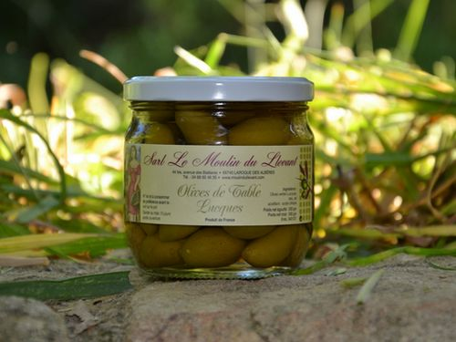 Olive de table verte de variété Lucques - 200 gr